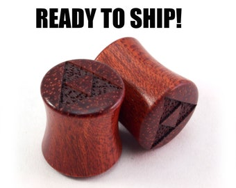 "READY TO SHIP 7/16"" (11mm) Bloodwood Triforce Wooden Plugs - Gamer Fan Gift - Premade Gauges Ship Within 1 Business Day!"