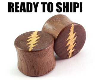 "READY TO SHIP 5/8"" (16mm) Walnut with Bolt Inlay Wooden Plugs - Premade Gauges Ship Within 1 Business Day!"