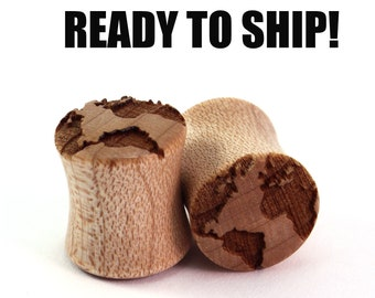 READY TO SHIP - 00g+ (10mm) Maple Globe Wooden Plugs - Pair - World Travels - Premade Gauges Ship Within 1 Business Day!