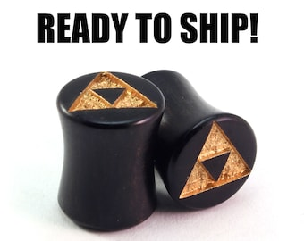 READY TO SHIP - 00g (9mm) Ebony Golden Triforce Wooden Plugs - Pair - Gamer - Premade Gauges Ship Within 1 Business Day!