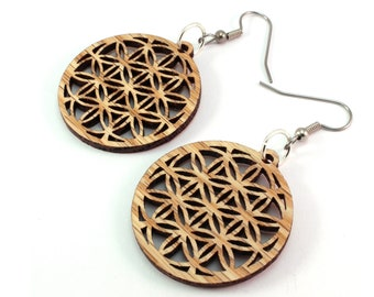 "Flower of Life Sustainable Wooden Hook Earrings - Small (1.3"") - Oak - Sacred Geometry Wood Dangle Earrings - Boho - Gift for Her"
