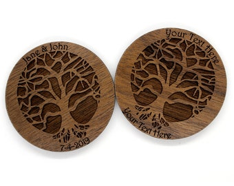 Lot of 10+ Customized Tree of Life Wooden Magnets - Sustainable Walnut Refrigerator Magnet for Wedding favors - guest gifts at Weddings