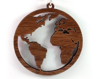 Globe Wooden Pendant - Walnut - Sustainable Wood Jewelry - 2 Sizes - Planet Earth - Travel - SHIPS FREE