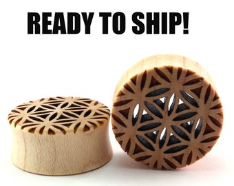 "READY TO SHIP - 1"" (25.5mm) Maple Flower of Life Cutout Wooden Plugs - Pair - Sacred Geometry - Premade Gauges Ship Within 1 Business Day!"