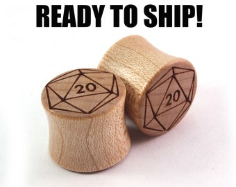 "READY TO SHIP 9/16"" (14mm) Maple 20-Sided Die Wooden Plugs - D&D Fan Gift Idea - Premade Gauges Ship Within 1 Business Day!"