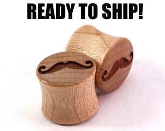 "READY TO SHIP 9/16"" (14mm) Maple Mustache Wooden Plugs - Gift Idea - Premade Gauges Ship Within 1 Business Day!"