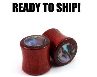 "READY TO SHIP 1/2"" (12mm)  Bloodwood Abalone Dot Inlay Wooden Plugs - Boho - Gift Idea - Premade Gauges Ship Within 1 Business Day!"