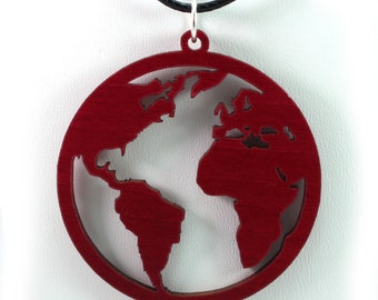 Globe Wooden Pendant - Red Stained Maple - Sustainable Wood Jewelry - 2 Sizes - Planet Earth / Earth Day / Travels - SHIPS FREE