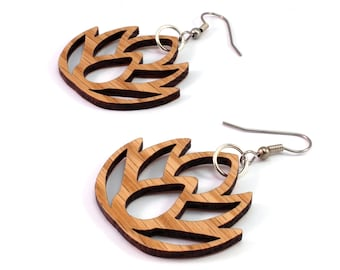 Simple Lotus - Sustainable Wooden Earrings - in Oak, Walnut, Red or Black Stained Maple - Dangle Drop Wood Earrings - 2 Sizes