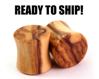 "READY TO SHIP - 7/16"" (11mm) Olivewood Blank Wooden Plugs - Hand Turned - Premade Gauges Ship Within 1 Business Day!"