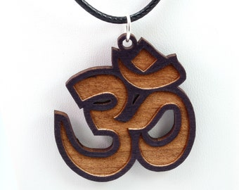 Om Wooden Pendant - Black Stained Maple - Sustainable Wood Jewelry - 2 Sizes - Gift for Her - Gift for Him - Yogi Gift Idea