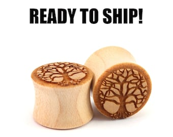 "READY TO SHIP - 9/16"" (14mm) Maple Tree of Life Wooden Plugs - Pair - Premade Gauges Ship Within 1 Business Day!"