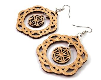 2-Part Flower of Life Sustainable Wooden Earrings - in Oak - Sacred Geometry