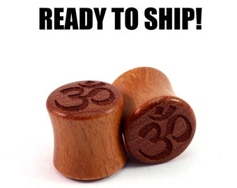 "READY TO SHIP 1/2"" (12mm) Osage Orange Om Wooden Plugs - Boho - Gift Idea - Premade Gauges Ship Within 1 Business Day!"