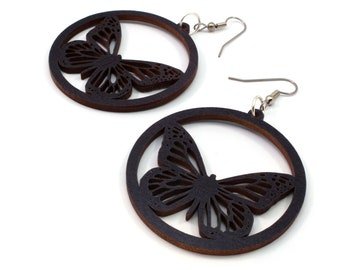 Monarch Butterfly Sustainable Wooden Hook Earrings - Black-Stained Maple, Red-Stained Maple, Walnut, or Oak Wood Dangle Earrings - 2 Sizes