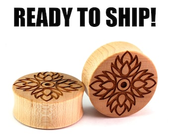 "READY TO SHIP - 1 3/16"" (30mm) Maple Lotus Flower of Life Wooden Plugs - Pair - Sacred Geometry - Premade Gauges Ship Within 1 Business Day!"