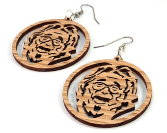 "Jerry Garcia Sustainable Wooden Hook Earrings - in Oak - 1.75"" - Wood Dangle Earrings - Dead Head-Inspired"