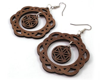 2-Part Flower of Life Sustainable Wooden Earrings - in Walnut - Sacred Geometry
