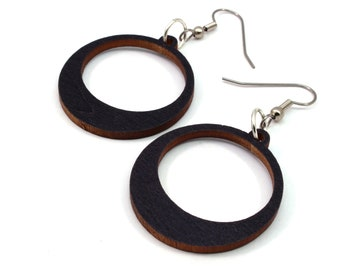 Simple Hoop Wooden Hook Earrings - Sustainably-Harvested Black Stained Maple - 2 Sizes - Wood Dangle Earrings Made in PA