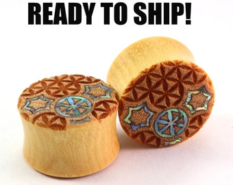 "READY TO SHIP - 3/4"" (19mm) Yellowheart with Abalone Geometric Burst Inlay Wooden Plugs - Premade Gauges Ship Within 1 Business Day!"