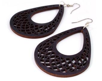 Teardrop Dreamcatcher Hook Wood Earrings in Black Stained Maple - 2 Sizes - Sustainably Harvested Wooden Tear Drop Dangle Earrings