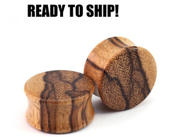"READY TO SHIP - 7/8"" (22mm) Zebrawood Blank Wooden Plugs w/Large (24mm) Flares - Pair - Premade Gauges Ship Within 1 Business Day!"