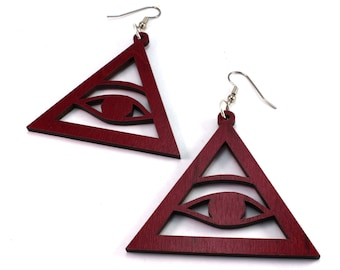 Eye of Providence Triangle - Sustainable Wooden Hook Earrings - in Red or Black Stained Maple, Walnut, or Oak Wood - Dangle Drop Earrings