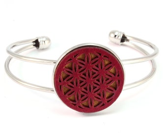 Cuff Bracelet with Sustainably-Harvested Red-Stained Maple Wooden Flower of Life Disc - Sacred Geometry