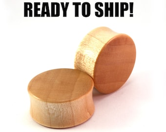 "READY TO SHIP - 1"" (25.5mm) Maple Unique Grain Wooden Plugs - Pair - Premade Gauges Ship Within 1 Business Day!"