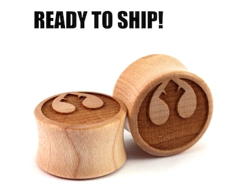 "READY TO SHIP - 3/4"" (19mm) Maple Rebellious Wooden Plugs - Pair - Premade Gauges Ship Within 1 Business Day!"