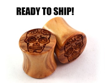 "READY TO SHIP 7/16"" (11mm) Olivewood Sugar Skull Wooden Plugs - Gift Idea - Premade Gauges Ship Within 1 Business Day!"
