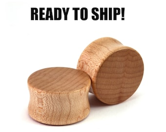 """READY TO SHIP - 13/16"""" (20.5mm) Maple Blank Wooden Plugs - Pair - Premade Gauges Ship Within 1 Business Day!"""