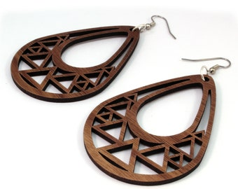 Triangle Teardrop Hook Wood Earrings in Walnut - 2 Sizes Available - Sustainably Harvested Wooden Tear Drop Dangle Earrings