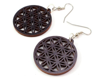 "Flower of Life Sustainable Wooden Hook Earrings - Small (1.3"") - Black Stained Maple - Sacred Geometry Wood Dangle Earrings"