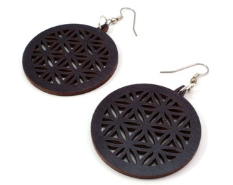 "Flower of Life Wooden Hook Earrings Large (1.75"") - Made of Sustainable Black or Red Stained Maple, Oak, or Walnut Wood Dangle Earrings"