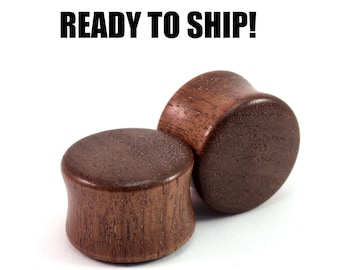 "READY TO SHIP 11/16"" (17.5mm) Walnut Blank Wooden Plugs - Gift Idea - Premade Gauges Ship Within 1 Business Day!  -"