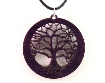 Tree of Life Wooden Pendant - Black Stained Maple - Sustainable Wood Jewelry - 2 Sizes - Boho - Gift for Her - Gift for Him - SHIPS FREE