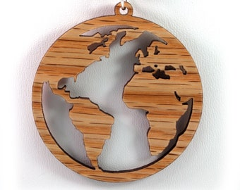 Globe Wooden Pendant - Oak - Sustainable Wood Jewelry - 2 Sizes - Planet Earth - Travel - SHIPS FREE