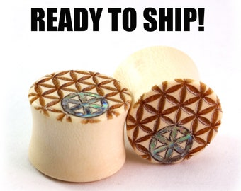 "READY TO SHIP - 9/16"" (14mm) Holly Sacred Geometry Inlay Wooden Plugs - Pair - Premade Gauges Ship Within 1 Business Day!"