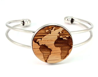 Cuff Bracelet with Sustainably-Harvested Wooden Oak Globe Disc - 2 Finishes