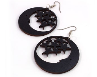 "Moon and Stars Sustainable Wooden Hook Earrings - Sustainably Harvested Black or Red Stained Maple, Oak, Walnut - Dangle Drop - large (2"")"