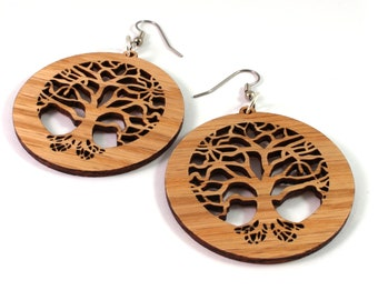 Tree of Life Sustainable Wooden Earrings - in Oak - 3 Sizes - Wood Dangle Hook Earrings