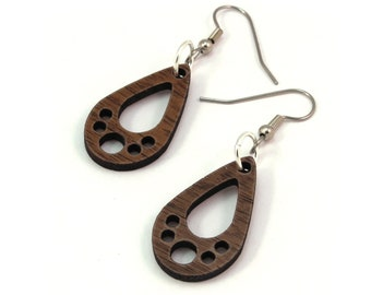 "Tiny Teardrop Wooden Hook Earrings - Made of Sustainable Oak, Walnut, or Red Stained Maple Wood - 1.1"" tall"