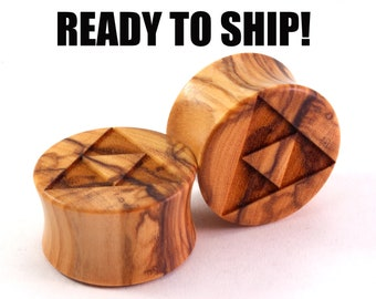 "READY TO SHIP - 13/16"" (20.5mm) Olivewood Triforce Wooden Plugs - Gamer - Premade Gauges Ship Within 1 Business Day!"