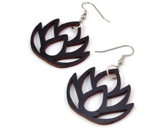 Simple Lotus - Sustainable Wooden Earrings - in Black Stained Maple, Red Stained Maple, Walnut, Oak - Dangle Drop - 2 Sizes