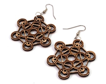 Metatron Cube Wooden Hook Earrings - in Oak, Walnut, Red Stained Maple, Black Stained Maple - Dangle Drop - Gift for Her