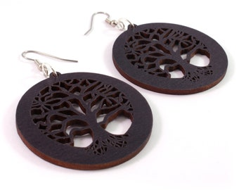 "Tree of Life Sustainable Wooden Earrings - Black Stained Maple - Large (2"")  - Wood Dangle Hook Earrings"
