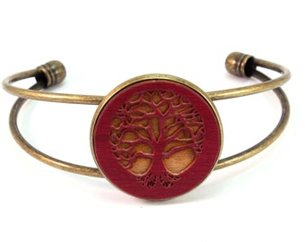 Cuff Bracelet with Sustainably-Harvested Red-Stained Maple Wooden Tree of Life Disc - 2 Finishes