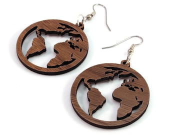 "Globes - Sustainable Wooden Hook Dangle Drop Earrings - 1.5"" - 3 Sizes Available - Walnut - Lightweight - Travels / Explorer / Earth Day"