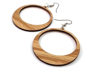 Simple Hoop Wooden Hook Earrings - in Oak, Walnut, Red Stained Maple or Black Stained Maple - in 2 Sizes